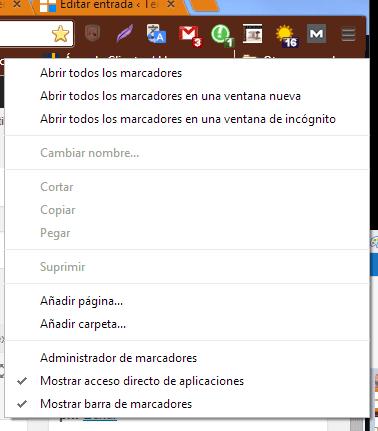 administrador de marcadores de Chrome c