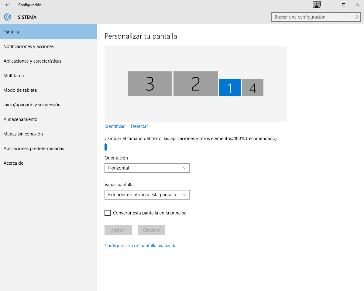 configurar varios monitores en Windows 10 b
