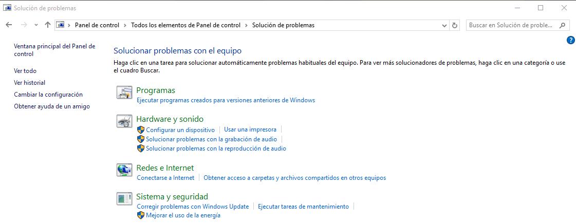 Consejos para buscar y corregir problemas en Windows 10