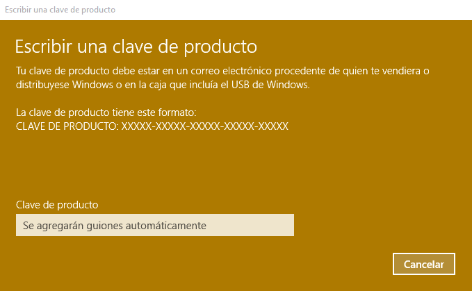 como cambiar la clave de Windows 10 b