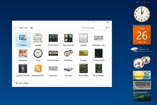 Gadgets de Windows Vista en Windows 10