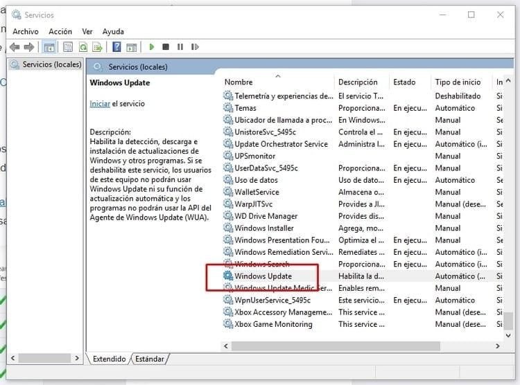 servicios Windows update
