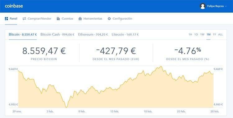 Página principal de Coinbase