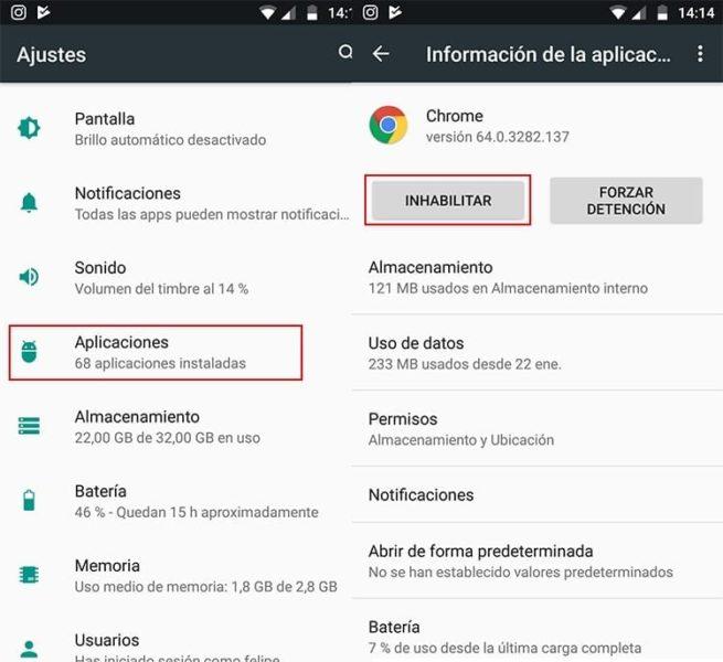Inhabilitar aplicaciones Android