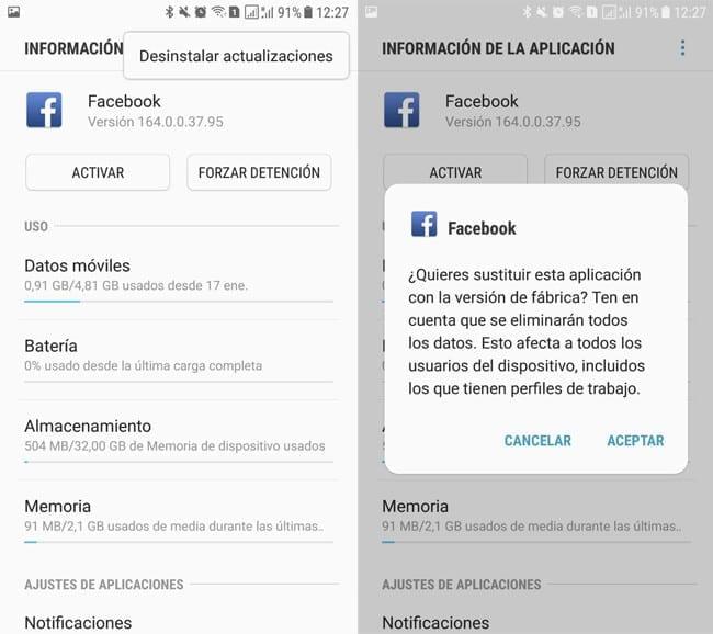 Desinstalar aplicación de Facebook
