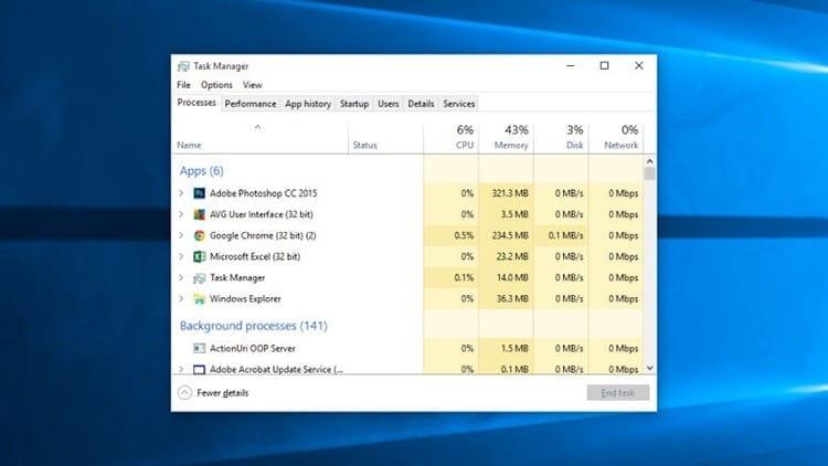 Atajo de teclado para abrir el administrador de tareas en Windows 10