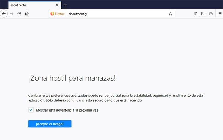 Ocultar pestañas en Firefox about-config