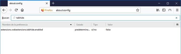 Ocultar pestañas en Firefox tabhide