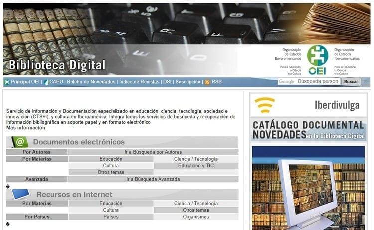 Biblioteca digital de la Organización de Estados Iberoamericanos (OEI)