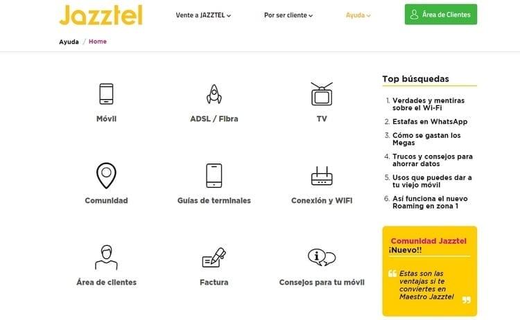 Apartado para resolver las principales dudas sobre los servicios y productos de Jazztel