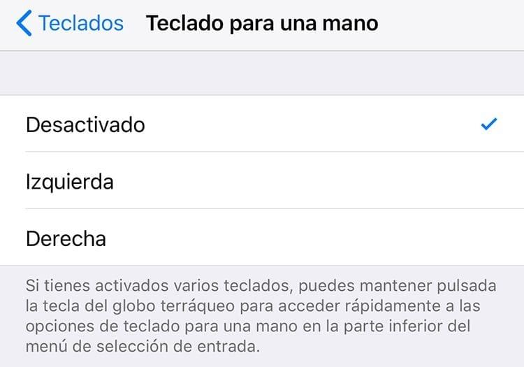 Teclado para una mano de iPhone