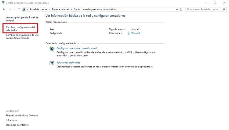 cambiar configuración adaptador Windows
