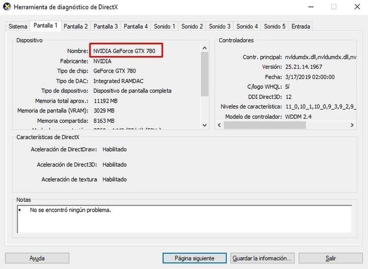 datos tarjeta grafica directx