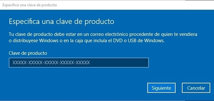 Escribir clave de Windows 10