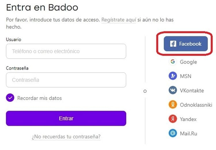 Iniciar sesión en Badoo con Facebook