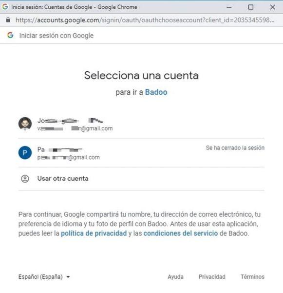 Iniciar sesión en Badoo con Google b