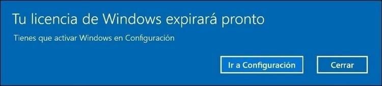 Tu licencia de Windows expirará pronto