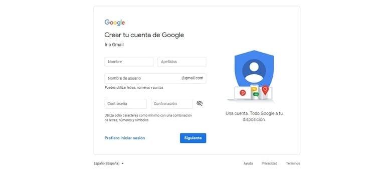 introducir los datos para la nueva cuenta Gmail