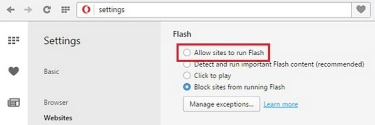 activar Adobe Flash Player opera