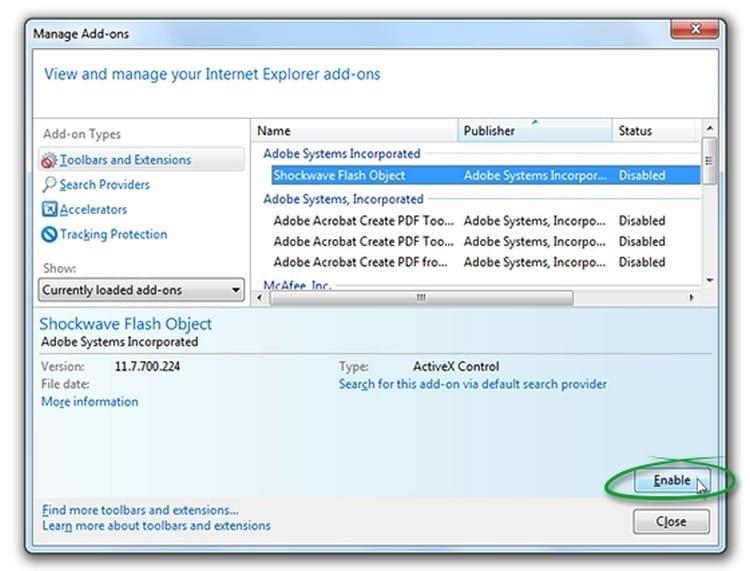 habilitar Adobe Flash Player Internet Explorer antiguo