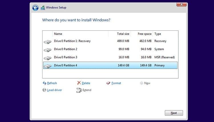 Formatear particiones Windows 10