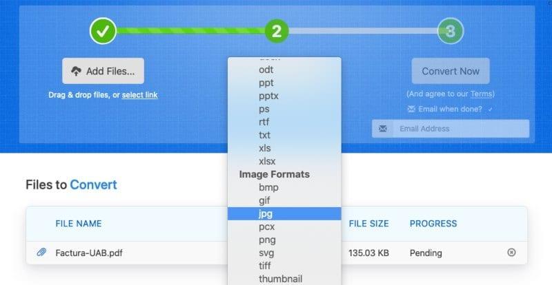 Zamzar convertir de PDF a JPG en línea