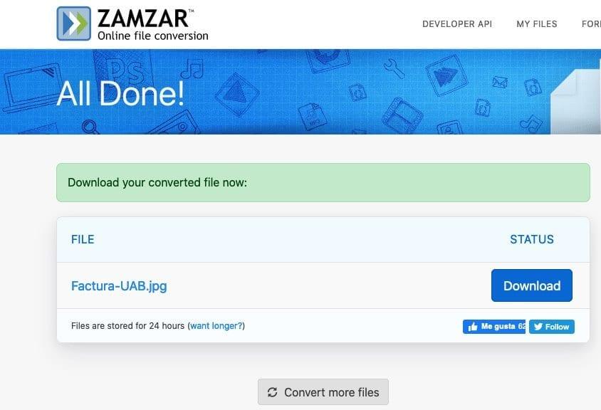 Zamzar convertir de PDF a JPG