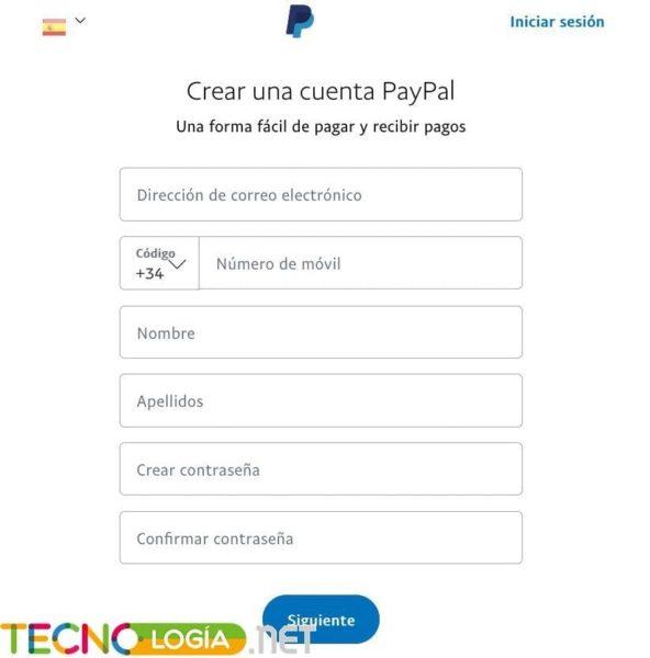 Formulario para crear una cuenta en Paypal