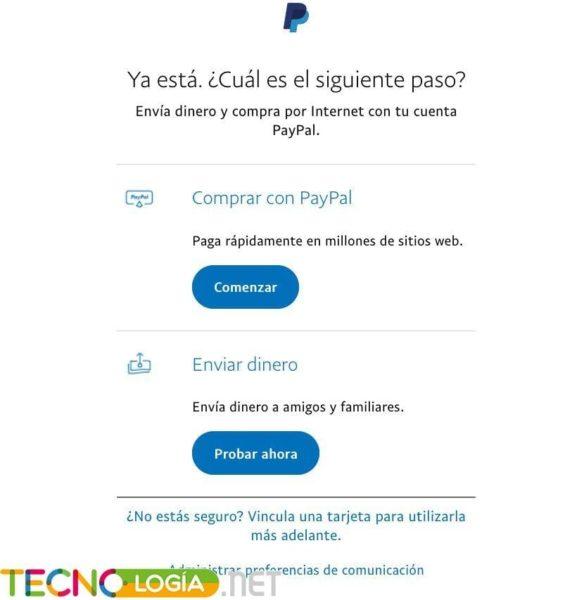 Paso final para crear cuenta en Paypal